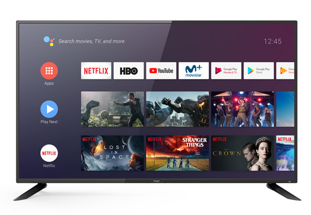 Smart Android TV Engel con sus apps en la pantalla de inicio