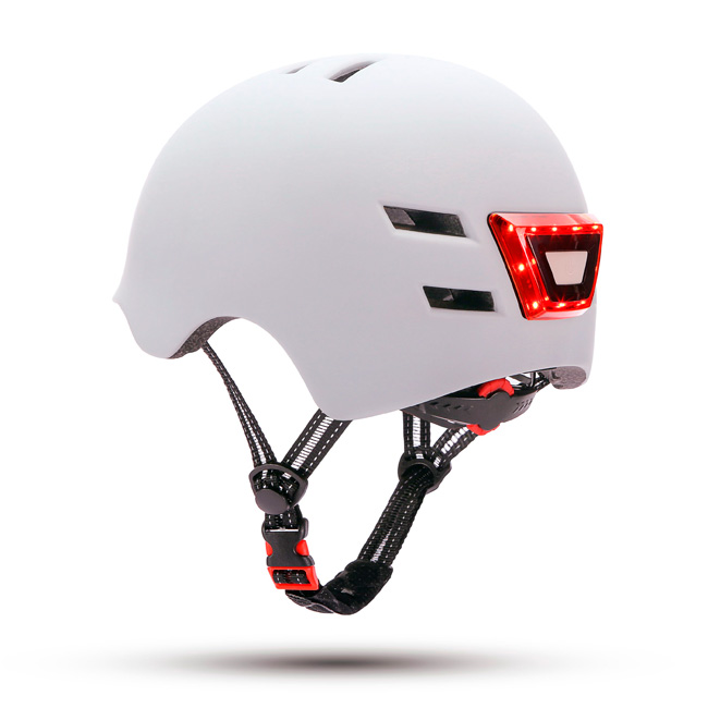 Casco con LED frontal y trasero Blanco